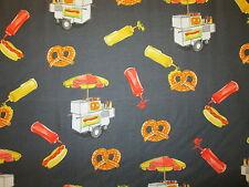 Hot Dogs Pretzels Hot Dog Cart Mustard Ketcup Food Black Cotton Fabric BTHY