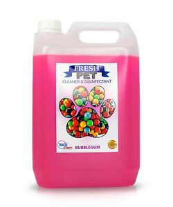 Kennel Cattery Cleaner And Deodoriser Bubblegum Scented 5L Container Fresh Pet