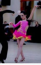 ballroom dance competition dress latin Sz Xxs Pink Yellow