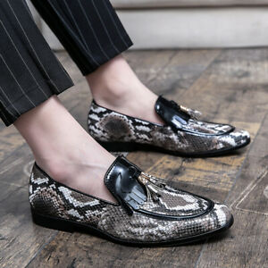 Mens Print Snakeskin Slip On Loafers Pointed Toe Casual Party Gommino Boat Shoes