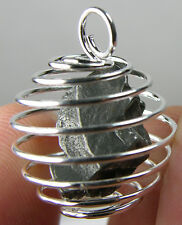 Argentina 100% Natural Rock From Space Meteorite Crystal in Spiral Cage Pendant