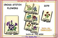 FLOWERS Embroidery Transfer Pattern IRON-ON  2279