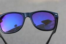 80's Vintage Retro Sunglasses black frame blue mirror lens