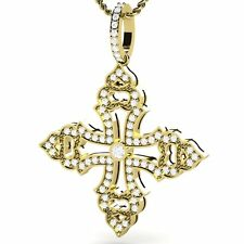 Diamond Yellow Gold 18K Cross Woman's Pendant Chain Included VS1 Clarity H Color