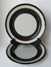 2 Arabia Finland KAIRA Brown & Blue Bands Stripe Stoneware Dinner Plates VTG MCM