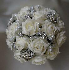 Brides vintage 3 brooch wedding bouquet Ivory diamante and pearls