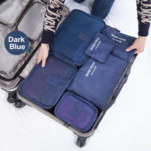 ETEU 6X Packing Cubes Luggage Storage Organiser Travel Compression Suitcase Bags