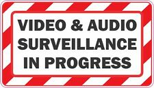 VIDEO AND AUDIO SURVEILLANCE IN PROGRESS STICKER DECAL X 2   **FREE SHIPPING**