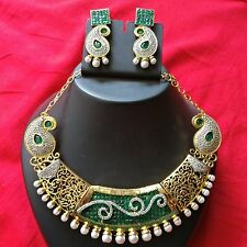 Indian Bridal Rich CZ AD Green emerald Cube  Stone Ethnic Necklace jewelry set