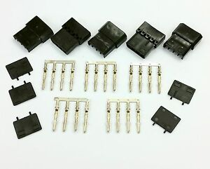PK OF 5 - 4 PIN MOLEX PC PSU POWER CONNECTOR PASSTHRU MALE/FEMALE-BLACK INC PINS