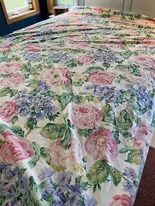 Vintage Bold Garden Floral  Queen Flat Sheet USA Pink Purple Green