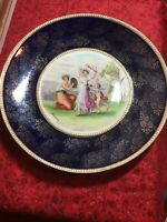 """Empire Works Cobalt Blue & Gold 10.5"""" Decorated Plate. Victorian Scene. Signed."""