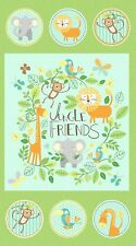 "Jungle Friends Animals Baby Northcott Quilt Fabric Panel 24"" x 44"""