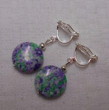 Handmade clip on earrings silver plated mottled round beads white purple green