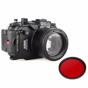 Meikon 40M Underwater Camera Diving Housing Case For Sony A5000 w/ Red Filter