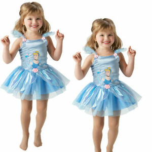Girls Cinderella Ballerina Costume Disney Princess Fairytale Fancy Dress Outfit