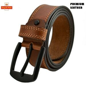 Leather Mens Belt Belts Real New Genuine Buckle With Gift Box Brown Black Tan UK