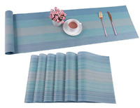 Pauwer Placemats with Table Runner Set Heat Resistant Washable Woven Vinyl Set 6