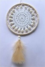 Ivory colour dream catcher with faux pearls 100mm decor vintage lace feathers