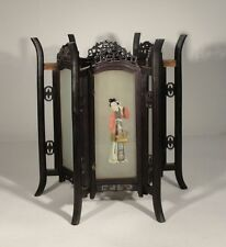 Antique Chinese Carved Zitan Lantern Hardwood Glass Panels Ladies Lamp