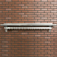 """12"""" x 60"""" Stainless Steel Wall Mounted Kitchen Pot Rack with Shelf and 18 Hooks"""