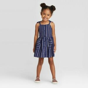 Cat Jack Toddler Girls Tank Top Striped Button Dress With Shine Navy Blue 12M Up