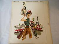 Vintage Gavan Print MCM Eiffel Tower  - Ray Witt Picture Co. Hotel Art Kitsch