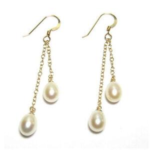 Genuine AAA White Pearl Double Chain Dangle Hook Earrings 14K Gold Filled