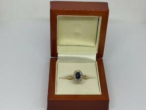 0.24ct Diamond and 0.60ct Sapphire 18ct Yellow Gold Ring Size L 1/2