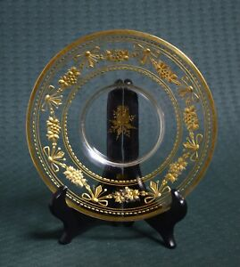 Antique Russian 19th century Glass Plate Hand Faceting & Gold Painted