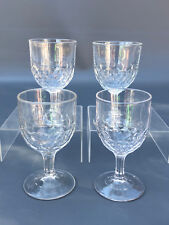 4 Antique clear pressed glass water goblets, HEAVY NEW YORK  c.1870's