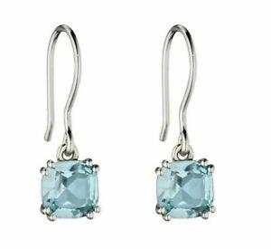 Blue Topaz Cushion Earrings Sterling Silver 925 Hallmark Elements Silver E5849T
