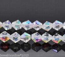 2 Strange Kristall Glasperlen Bicone Rhomben Beads Doppelkegel 6x6mm
