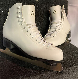 AMERICAN ATHLETIC 524 FIGURE ICE SKATES LADIES 8 WOMEN WHITE LEATHER LINED