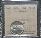 1956 CANADA - 25 CENTS SILVER - ICCS Graded MS 64 - Nice - NCC
