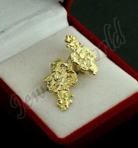 Mens Real 10K Solid Yellow Gold Large Nugget Diamond Cut Stud Earrings