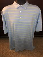 MENS XL PETER MILLAR SUMMER COMFORT POLO GOLF SHIRT Blue Striped Size X-Large