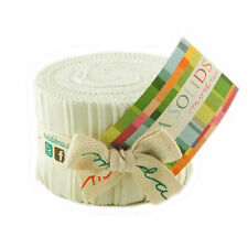 Moda Fabric Junior Jelly Roll Bella Solids Porcelain - Patchwork Quilting 2.5...