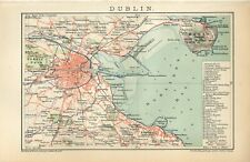 1900 IRELAND DUBLIN CITY and SUBURBS Antique Map dated
