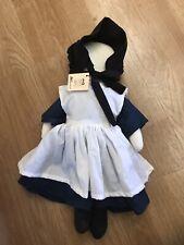 "Vintage Handmade Amish Mennonite Faceless Girl Doll Traditional Blue Dress ~18""b"