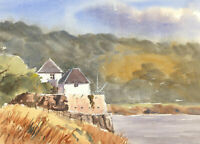 John A. Case - Contemporary Watercolour, Autumnal Riverside Study