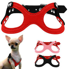 Suede Leather Puppy Dog Harness Glasses Style Rhinstones Small Dogs Harness S-L
