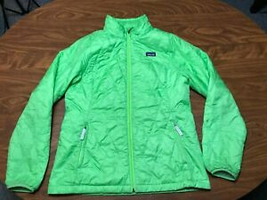 GIRLS USED PATAGONIA NEON GREEN ZIP UP QUILTED OUTDOOR JACKET SIZE YOUTH 2XL