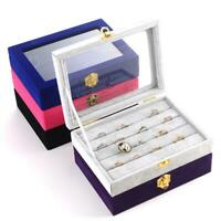 Velvet Jewelry Wood Ring Display Organizer Box Tray Holder Earring Storage LJ