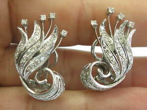 18Kt Leaf Motif Diamond White Gold Huggie Earrings 1.36Ct 1.25""