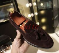2018 Chic Mens Brogue Suede Tassel Flats Round Toe Slip On Loafers Dress Shoes_
