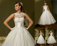 New Tea Length Classic Lace Wedding Dress Bridal Gown Party Prom Dress Size 6-18