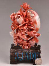 Natural ShouShan Stone Bird & Flower Agalmatolite Carving / Sculpture /Statue