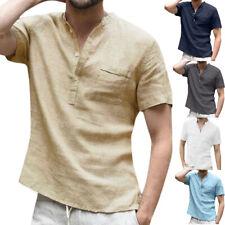 Mens Linen Short Sleeve Tee Shirt Summer Loose Fit Casual Shirts V-Neck Tops AU