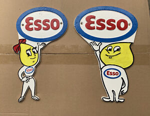 Cast Iron Esso Oil Boy & Girl Figure Flat Profile Signs Wall Plaque Hand Painted